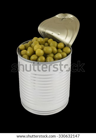 Opened tin with green peas isolated on black - stock photo