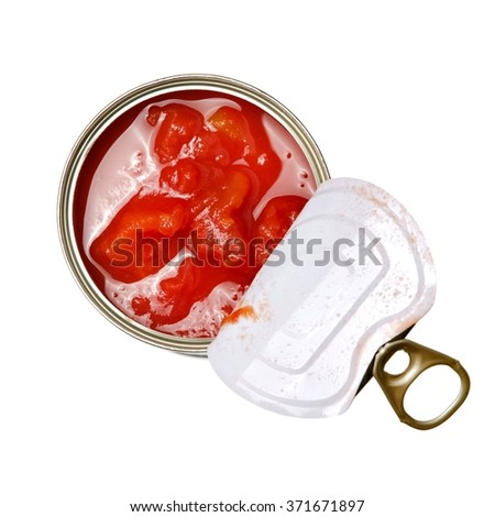 Opened tomato tin can, top view - stock photo