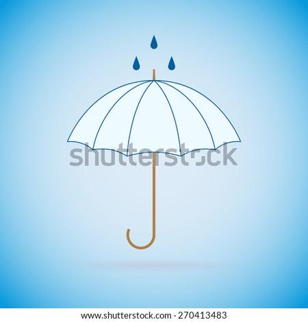 Opened umbrella and rain on blue background. Raster version. - stock photo