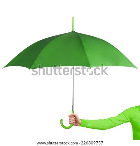 Opened umbrella in a hand isolated on a white background - stock photo