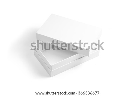 Opened white box and white cap with original shadow. Photo has clipping path. Isolated on white. - stock photo