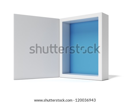 Opened white Box with blue inside - stock photo