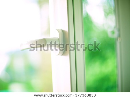 Opened white plastic window. - stock photo