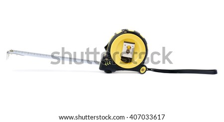 Opened Working construction Measuring tape over isolated white background - stock photo