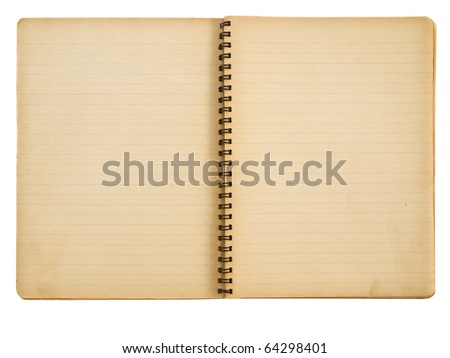 Opened yellowed spiral notebook isolated on white - stock photo