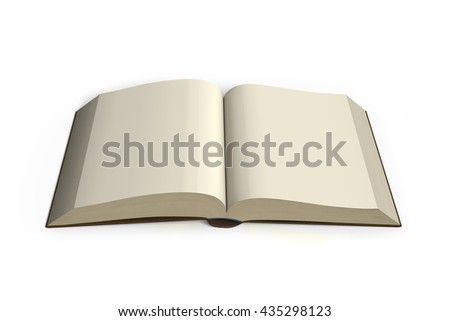 Opening Book isolated in white background  , 3d rendering, blank pages - stock photo