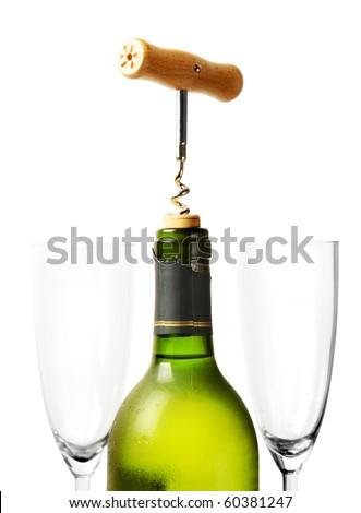 Opening bottle of wine - stock photo