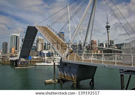 Opening Bridge in Auckland, New Zealand - stock photo