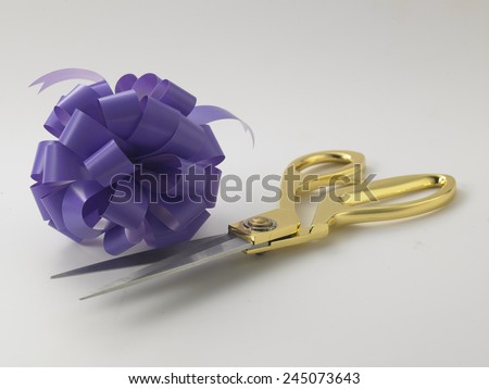 opening ceremony concept purple ribbon bows and gold scissors - stock photo