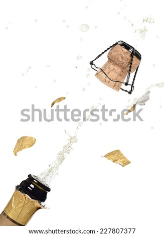 Opening popping champagne cork - stock photo