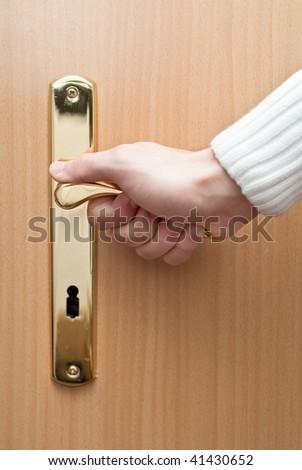 Opening the door - stock photo