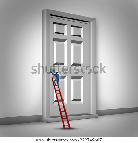 Opening the door business concept as a person climbing a success ladder to open a closed entrance to opportunity as a metaphor for career advancement challenge or bureaucracy. - stock photo