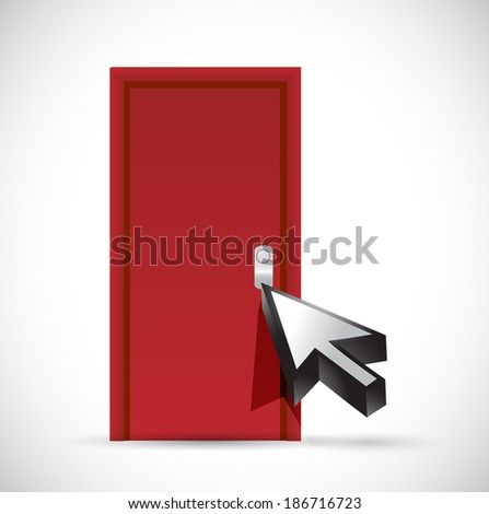 opening the door concept illustration design over a white background - stock photo