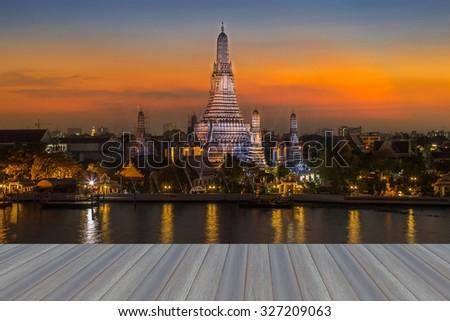 Opening wooden floor, Temple of Dawn, Wat Arun, Bangkok, Thailand - stock photo