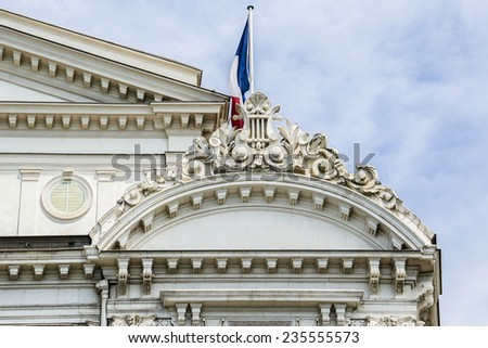 Opera de Nice, as 'petit theatre en bois' was first created in 1776 by Marquess Alli-Maccarani. South facade. Opera de Nice building was classified as a historic monument in March 1992. - stock photo
