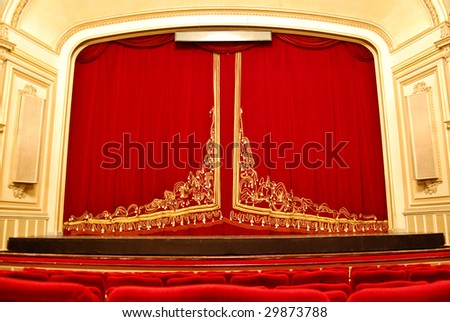 Opera House Interior - Stage and Front Seating - stock photo