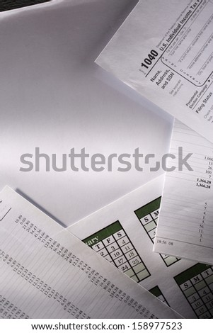 Operating budget, calendar and tax form - stock photo