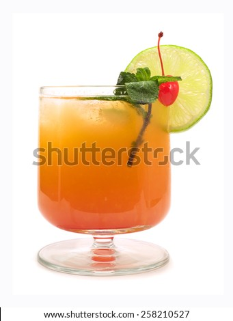 Operation Recoverer cocktail isolated on white background. It's made from 1 part lemon vodka, 1 part peach schnaps, 2 parts tangerine juice,grenadine - stock photo