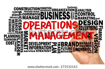 operations management concept with related word cloud handwritten on whiteboard - stock photo