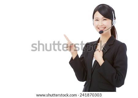 operator pointing side - stock photo