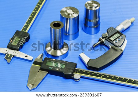 operator prepare measuring equipment to inspection mold and die - stock photo