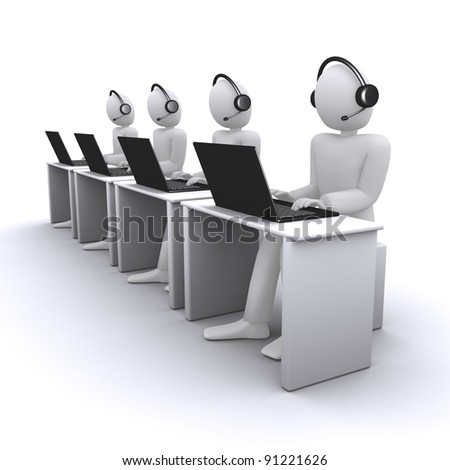 operators or managers from call-center - stock photo