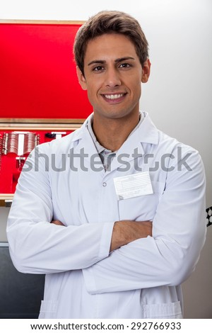 Ophthalmologist looking at camera - stock photo