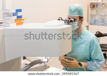 Ophthalmology laser operation - stock photo