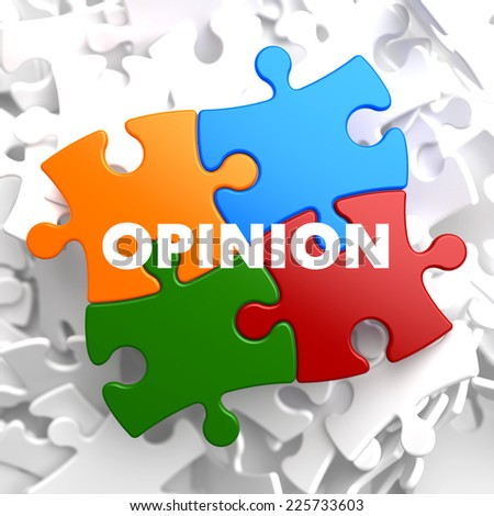 Opinion on Multicolor Puzzle on White Background. - stock photo