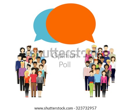 Opinion poll flat illustration of two groups of people and speech bubbles between them - stock photo