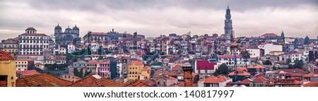 Oporto, December 2012. Panoranic view of downtown, UNESCO World Heritage Site. - stock photo