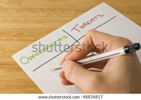 Opportunities and Threats - External Part Of A Swot Analysis - stock photo