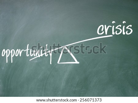 opportunity and crisis sign on blackboard - stock photo