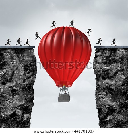 Opportunity manager and problem solver business concept as red air balloon creating a support link to help a team of businesspeople cross to a corporate goal to success with 3D illustration elements. - stock photo