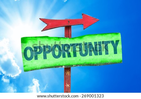 Opportunity sign with sky background - stock photo