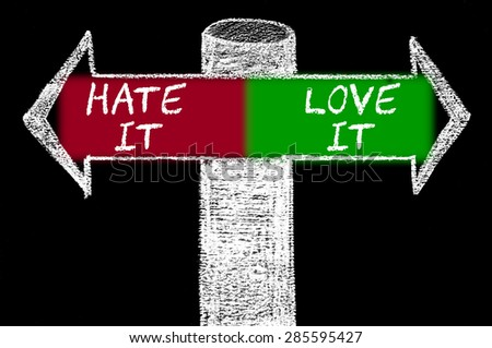 Opposite arrows with Hate It versus Love It.