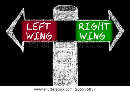 Opposite arrows with Left Wing versus Right Wing.Hand drawing with chalk on blackboard. Choice conceptual image - stock photo