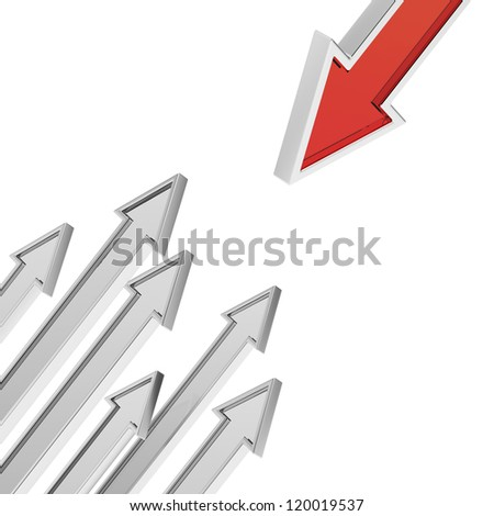 Opposition concept with arrows - stock photo