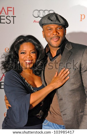 Oprah Winfrey and Tyler Perry at the AFI Fest Premiere of 'Precious,' Chinese Theater, Hollywood, CA. 11-01-09 - stock photo
