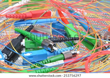 optical computer networks plugs and connectors - stock photo