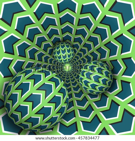 Optical illusion bitmap illustration. Three balls are moving in rotating hole. Blue arrows on green pattern objects. Abstract fantasy in a surreal style. - stock photo