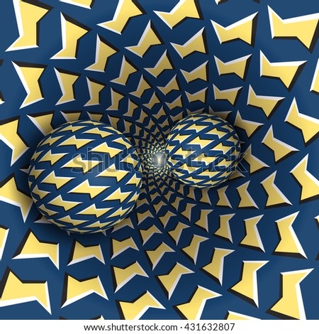 Optical illusion bitmap illustration. Two balls are moving on rotating funnel. Yellow blue lightnings pattern objects. Abstract fantasy in a surreal style. - stock photo
