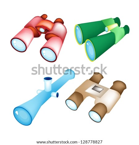 Optical instruments, Red, Green, Blue, and Brown Color of Binoculars Isolated on White Background - stock photo