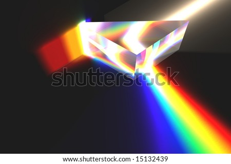 Optical Prism Illustration on black. - stock photo