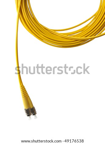 Optical single mode FC patch cord isolated on white background. - stock photo