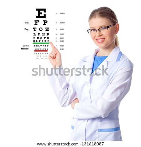 Optician, optometrist woman doctor examining patient's eyesight by showing the chart, isolated on white - stock photo