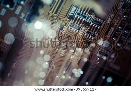 Optics. Fiber optic cables, fibre connection, telecomunications concept. - stock photo