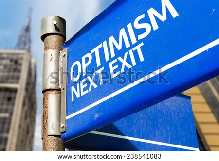 Optimism Next Exit blue road sign - stock photo