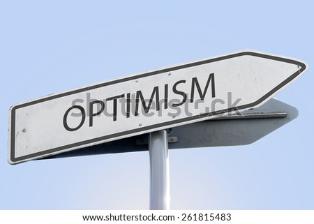 OPTIMISM word on road sign - stock photo