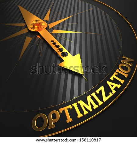 "Optimization - Business Concept. Golden Compass Needle on a Black Field Pointing to the Word ""Optimization"". 3D Render. - stock photo"
